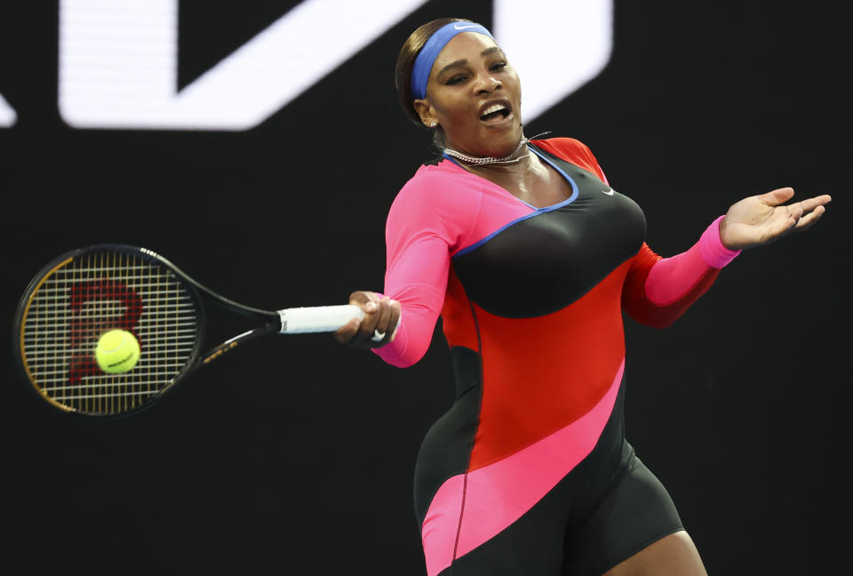 United States' Serena Williams hits a forehand return to Romania's Simona Halep during their quarterfinal match at the Australian Open tennis championship in Melbourne, Australia, Tuesday, Feb. 16, 2021.(AP Photo/Hamish Blair)