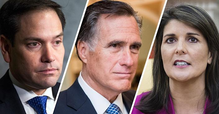 From left: Marco Rubio, Mitt Romney and Nikki Haley (Photos: Zach Gibson/Getty Images, Bill Clark/CQ Roll Call/Getty Images, Zach Gibson/Bloomberg via Getty Images)