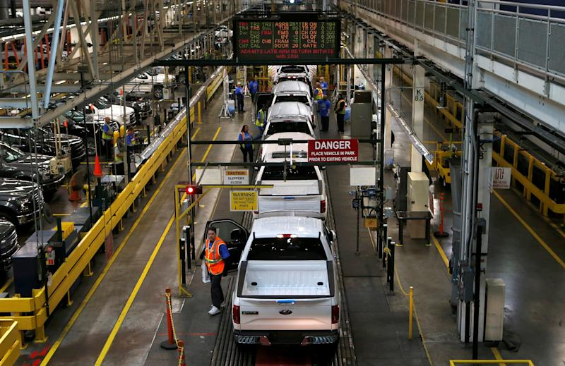 FILE PHOTO:    FIle photo of then all-new Ford 2015 F-150 pickup trucks moving down the final inspection line at the Ford Rouge Center in Dearborn