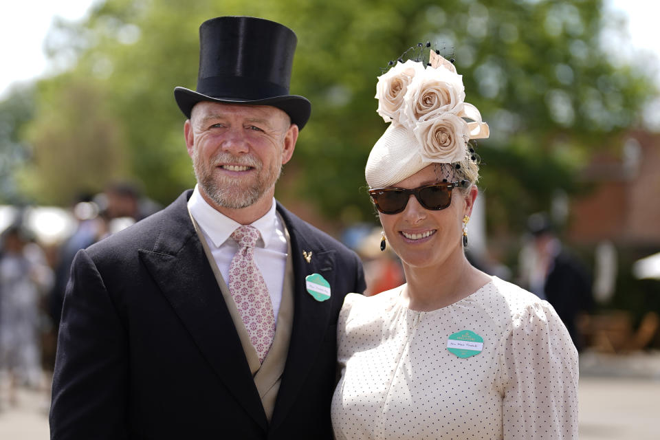 ASCOT, ENGLAND - JUNE 15: Zara Tindall arrives with husband Mike on day one of the Royal Ascot meeting at Ascot Racecourse on June 15, 2021 in Ascot, England. A total of twelve thousand racegoers made up of owners and the public are permitted to attend the meeting due to it being an Events Research Programme (ERP) set up by the Government due to the Coronavirus pandemic. (Photo by Alan Crowhurst/Getty Images)