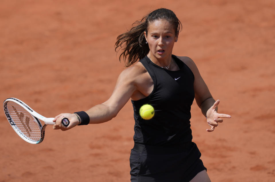 Russia's Daria Kasatkina plays a return to Switzerland's Belinda Bencic during their second round match on day four of the French Open tennis tournament at Roland Garros in Paris, France, Wednesday, June 2, 2021. (AP Photo/Thibault Camus)