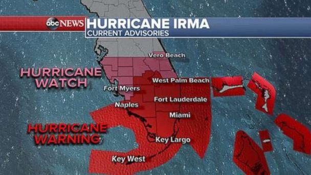 The first hurricane warnings for South Florida and the Florida Keys were issued at 11 p.m. on Thursday, Sept. 7, 2017. (ABC NEWS)