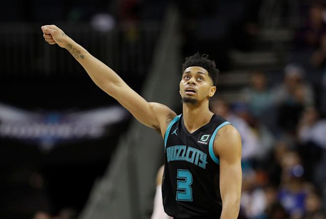 "<a class=""link rapid-noclick-resp"" href=""/nba/players/5018/"" data-ylk=""slk:Jeremy Lamb"">Jeremy Lamb</a> earned his team a 1-point win with a Sunday night buzzer beater. (AP Photo)"