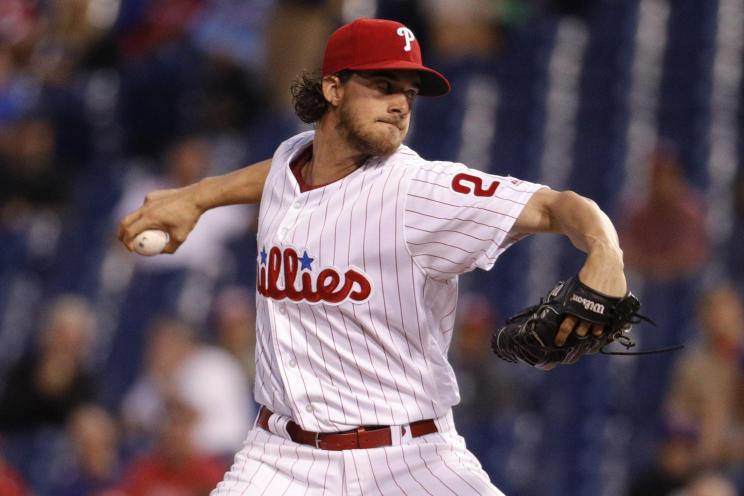 Even with Jake Arrieta in town, Aaron Nola could prove to be the Phillies ace. (AP)