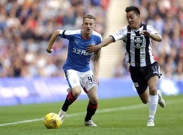 Football - Rangers v St Mirren - Ladbrokes Scottish Championship - Ibrox Stadium - 7/8/15 Rangers' Tom Walsh (L) in action with St Mirren's Cameron Howieson Action Images via Reuters / Graham Stuart Livepic EDITORIAL USE ONLY.