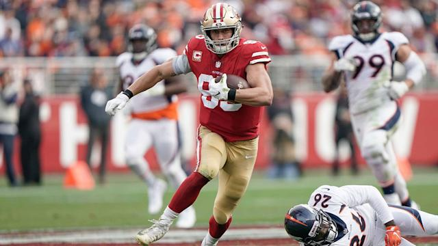 George Kittle broke the NFL single-season record for most receiving yards by a tight end while playing with fractured rib cartilage.