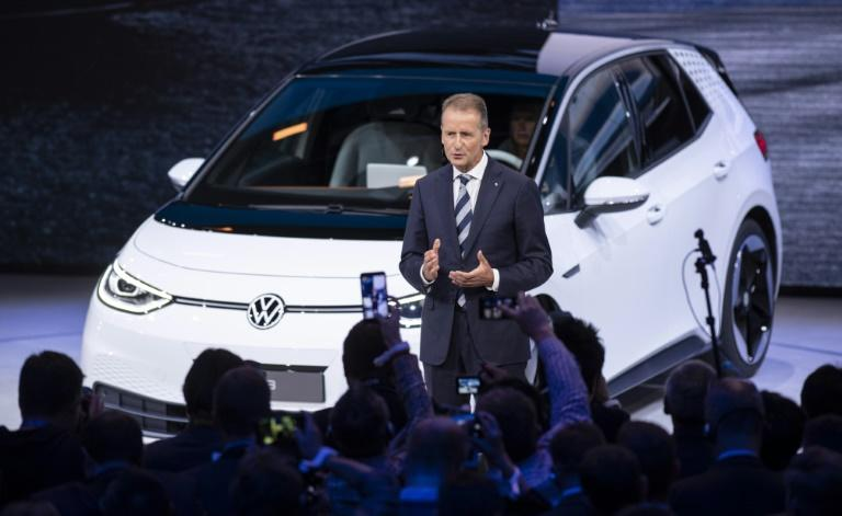 "VW chief executive Herbert Diess unveiled the new model, known as ID.3, saying ""the car for the new era is here"" (AFP Photo/Silas Stein)"