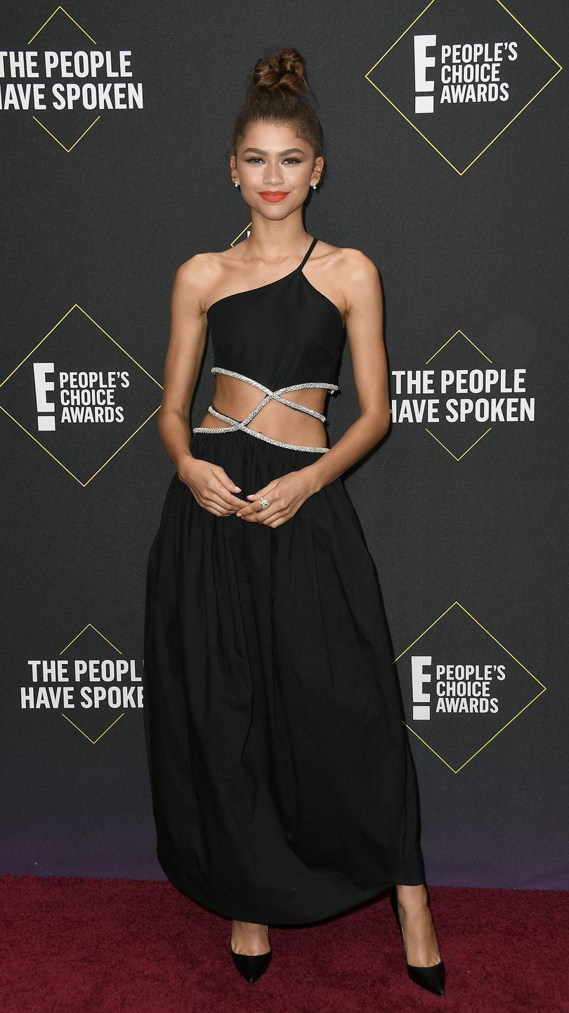<p>For the E! People's Choice Awards, Zendaya dazzled in cut-out dress by Christopher Esber, Nadine Jewellery, and Louboutin pumps. </p>