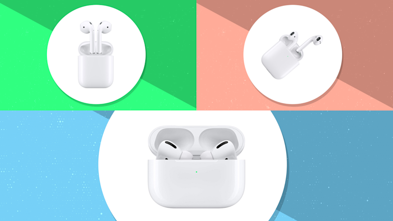 The three faces of Apple AirPods: 2nd generation, with charging case, and Pro. (Photo: Apple)