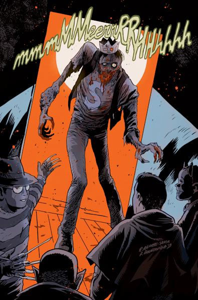 """This image released by Archie Comics shows the character Jughead from""""Afterlife With Archie,"""" a series debuting Wednesday, Oct. 9. The series written by Roberto Aguirre-Sacasa and illustrated by Francesco Francavilla sees Archie, Betty, Jughead, Veronica and others, including Sabrina the Teenage Witch, enveloped in apanoply of incantations, elder gods, the undead and zombies, too. (AP Photo/Archie Comics)"""