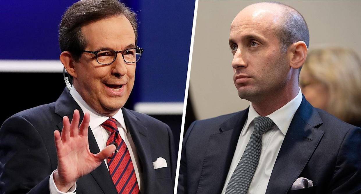 Fox News anchor and moderator Chris Wallace and White House senior adviser Stephen Miller (Photo by Drew Angerer/Getty Images; photo by Saul Loeb/AFP/Getty Images)