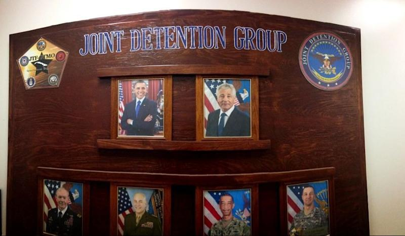 President Barack Obama and Secretary of Defense Chuck Hagel pictured at the headquarters of Joint Task Force Guantanamo's Joint Detention Group headquarters.