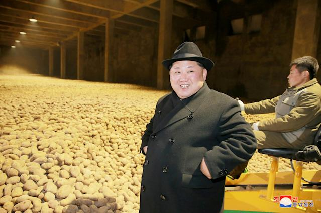 <p>North Korea's leader Kim Jong Un is seen during the inspection of a potato flour factory in this undated photo released by North Korea's Korean Central News Agency (KCNA) in Pyongyang December 6, 2017. KCNA/via REUTERS ATTENTION EDITORS – THIS PICTURE WAS PROVIDED BY A THIRD PARTY. REUTERS IS UNABLE TO INDEPENDENTLY VERIFY THE AUTHENTICITY, CONTENT, LOCATION OR DATE OF THIS IMAGE. NO THIRD PARTY SALES. SOUTH KOREA OUT. </p>
