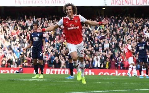 <span>David Luiz scored his first Arsenal goal against Bournemouth</span> <span>Credit: Getty Images </span>