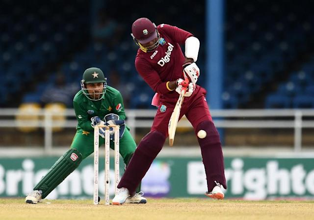 West Indies' Marlon Samuels hits a boundary during the second of four-T20I-match between West Indies and Pakistan March 30, 2017 (AFP Photo/Jewel SAMAD)