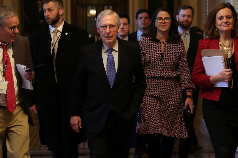 U.S. Senate Majority Leader McConnell returns to his office after a speech on the Senate floor of the U.S. Capitol in Washington