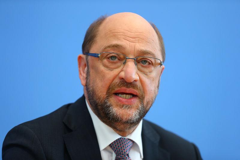 FILE PHOTO - Germany's Social Democratic Party SPD candidate for chancellor Schulz addresses a news conference in Berlin