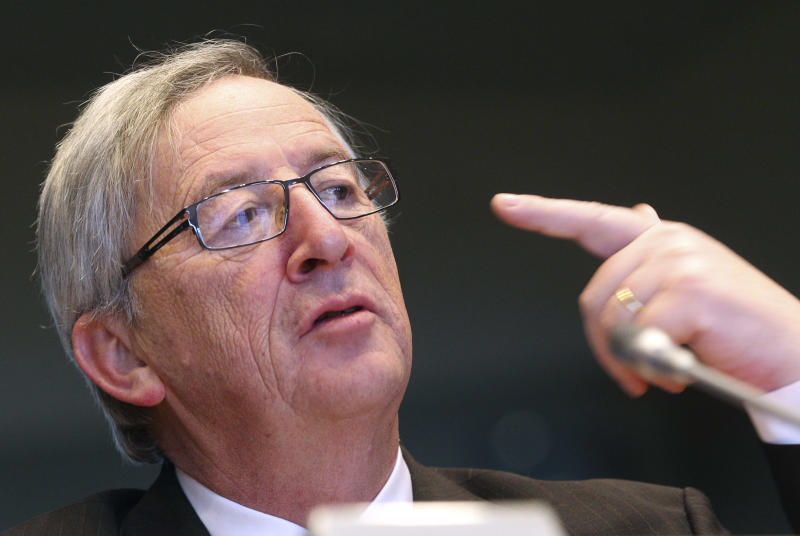 Luxembourg's Prime Minister and Chairman of the Eurogroup Jean-Claude Juncker addresses the Economic and Monetary Committee during a session at the European Parliament in Brussels, Thursday, Jan. 10, 2013. (AP Photo/Yves Logghe)