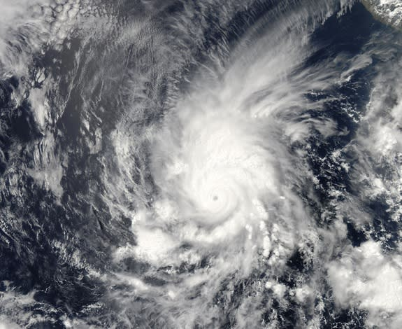 The first named storm of the 2014 Eastern Pacific hurricane season, Amanda, is seen as a Category 4 hurricane on May 25, 2014.