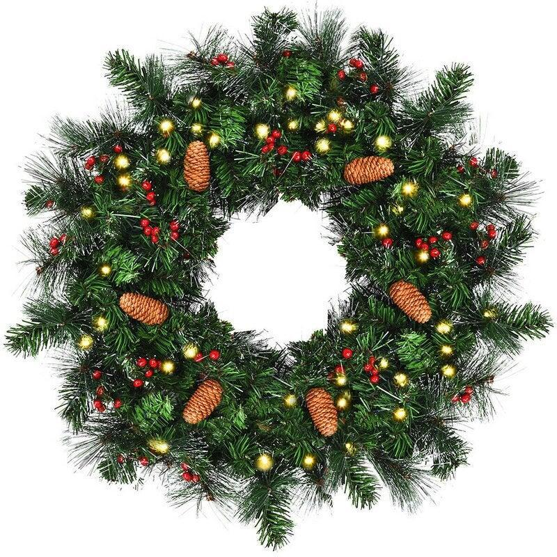 """<br><br><strong>The Holiday Aisle</strong> 24"""" Lighted Polyvinyl Chloride Wreath, $, available at <a href=""""https://go.skimresources.com/?id=30283X879131&url=https%3A%2F%2Ffave.co%2F3kBMd0R"""" rel=""""nofollow noopener"""" target=""""_blank"""" data-ylk=""""slk:Wayfair"""" class=""""link rapid-noclick-resp"""">Wayfair</a>"""
