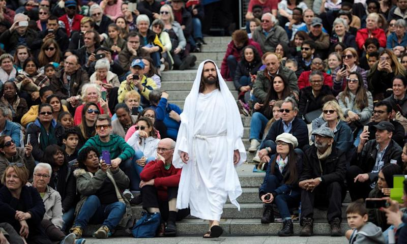 'Gospel truth': the Wintershall Players present The Passion of Jesus in Trafalgar Square on Good Friday.