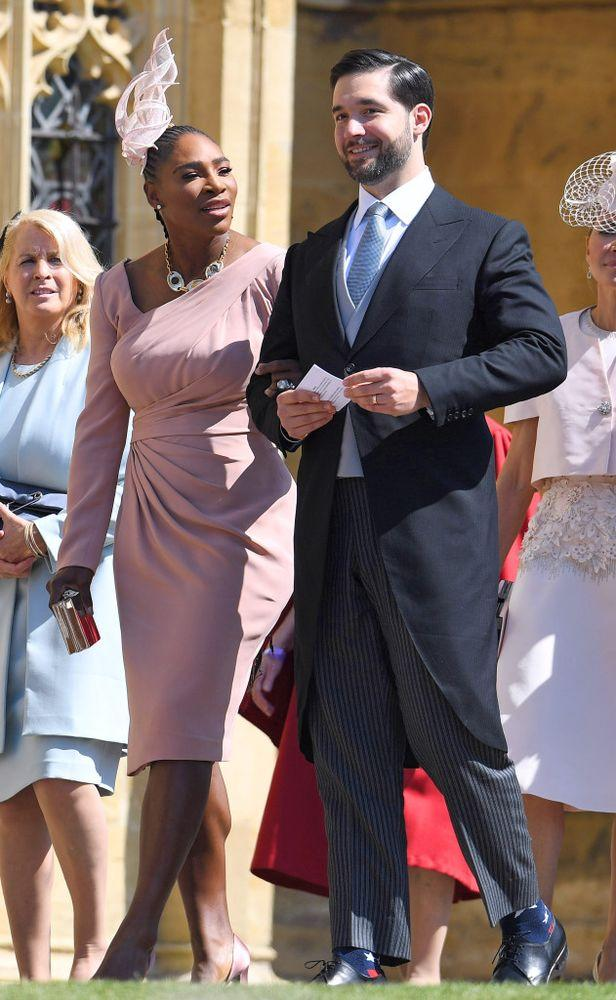 Serena Williams and Alexis Ohanian at Meghan's wedding in May