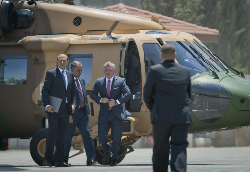 Jordan's King Abdullah II arrives for a meeting with Palestinian President Mahmoud Abbas, at the Palestinian headquarters, in the West Bank city of Ramallah, Monday, Aug. 7, 2017. (AP Photo/Nasser Nasser)