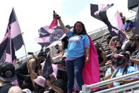 Inter Miami soccer fans cheer before an MLS soccer match against the LA Galaxy, Sunday, April 18, 2021, in Fort Lauderdale, Fla. (AP Photo/Lynne Sladky)