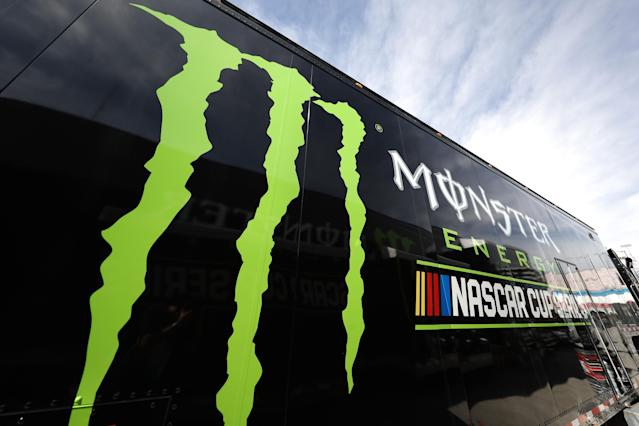 A logo for the NASCAR Monster Energy NASCAR Cup Series is seen during practice for Kobalt 400 at Las Vegas Motor Speedway on March 10, 2017 in Las Vegas, Nevada. (Getty Images)