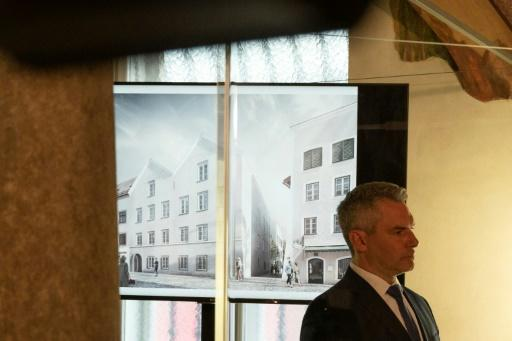 Austrian Interior Minister Karl Nehammer presents the plan for the redesign of the house in Braunau where Adolf Hitler was born in 1889