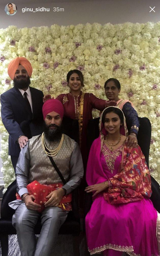 Jagmeet Singh and Gurkiran Kaur Sidhu pose for a photo with her family on Sunday that was posted to Instagram.