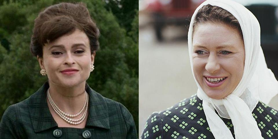 """<p>Carter filled the shoes of Vanessa Kirby to portray Princess Margaret in season 3 of <em>The Crown</em>. The British actress took the role very seriously, <a href=""""https://www.townandcountrymag.com/leisure/arts-and-culture/a29398866/helena-bonham-princess-margaret-psychic-blessing/"""" rel=""""nofollow noopener"""" target=""""_blank"""" data-ylk=""""slk:even consulting a psychic"""" class=""""link rapid-noclick-resp"""">even consulting a psychic</a> for Margaret's blessing. </p>"""