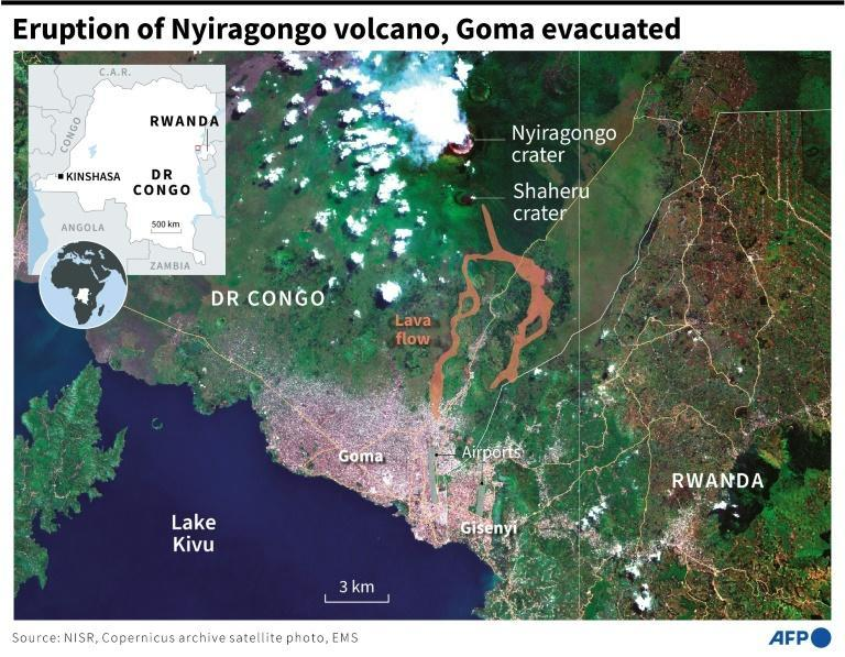 Satellite photo of the zone around the Nyiragongo volcano, showing lava flows towards the city of Goma