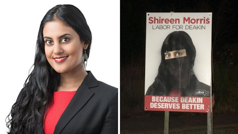 Posters for Victoria's Deakin electorate Labor candidate Shireen Morris, left, have been defaced to depict her wearing a niqab. Source: Shireen Morris