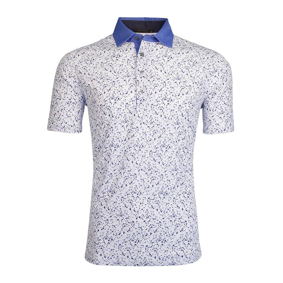 """$110; buy now at <a href=""""https://fave.co/2BwZHWX"""" rel=""""nofollow noopener"""" target=""""_blank"""" data-ylk=""""slk:greysonclothiers.com"""" class=""""link rapid-noclick-resp"""">greysonclothiers.com</a> <p>With an experienced designer—<strong>Charlie Schaefer</strong>, the former SVP of design at Ralph Lauren—leading the pack, few do creative polos better than Greyson Clothiers. Though there are a number of bold prints to choose from, the Greyson Angel Tears Polo offers a more subtle print option, perfect for any golfer's spring shirt arsenal. A four-button placket and contrast colored jersey collar elevate this thing into the stratosphere. One note, however: those in search of a more tailored fit would be advised to size down.</p>"""