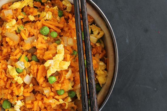 """<p>Find cauliflower rice a bit blah? Try blitzing (or just chopping up) your trusty sweet potato noodles instead. Throw in a bit of soy sauce and you'll never crave 'the real thing' again…</p><p>Get the recipe from <a href=""""http://inspiralized.com/part-1-takeout-fakeout-vegetarian-sweet-potato-fried-rice/"""" rel=""""nofollow noopener"""" target=""""_blank"""" data-ylk=""""slk:Inspiralized"""" class=""""link rapid-noclick-resp"""">Inspiralized</a>.</p><p><br></p>"""