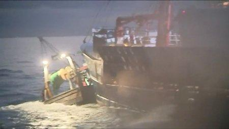 FILE PHOTO: French and British fishing boats collide during scrap in English Channel over scallop fishing rights, August 28, 2018 in this still image taken from a video. France 3 Caen/via REUTERS