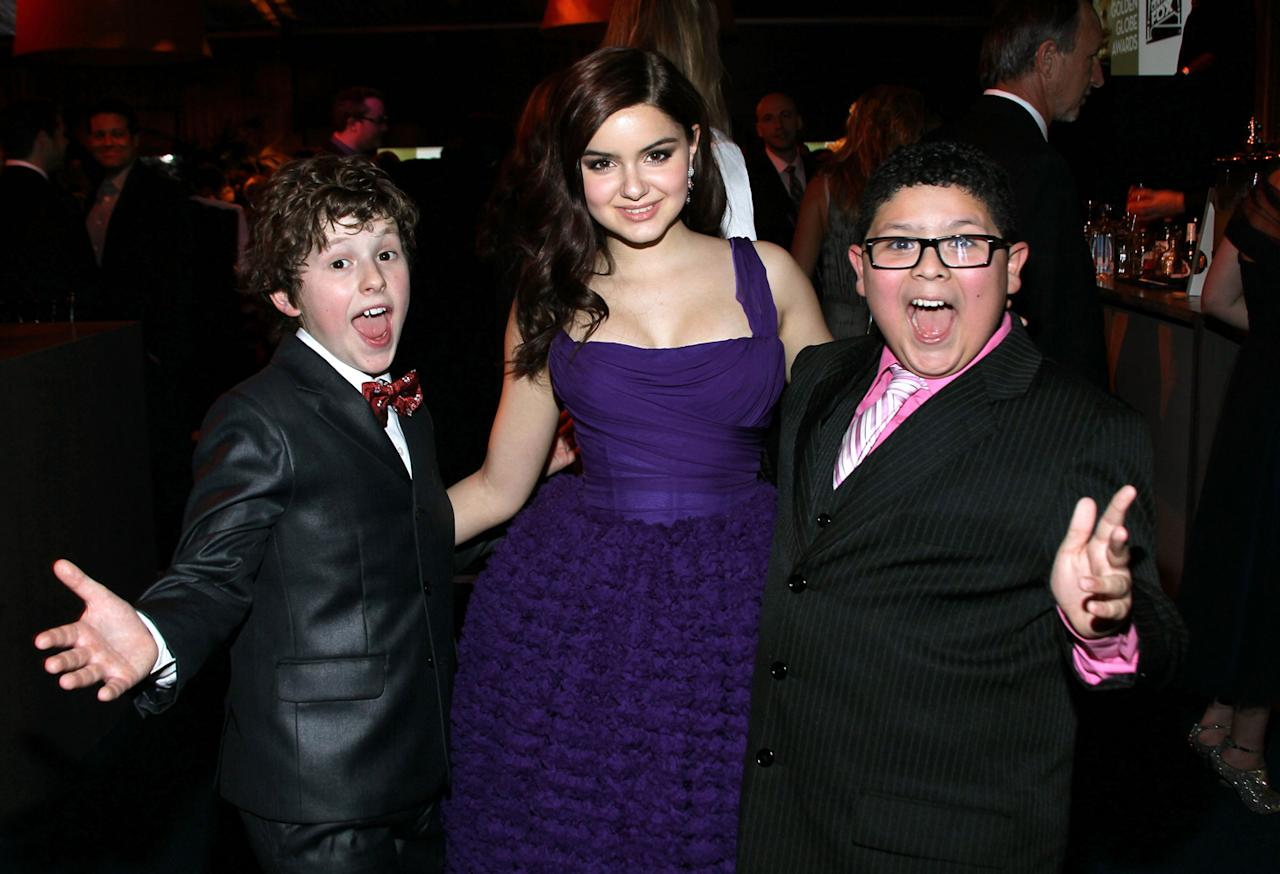 (L-R) Actors Nolan Gould, Ariel Winter and Rico Rodriguez attend NBC Universal's 69th Annual Golden Globe Awards After Party held at The Beverly Hilton hotel on January 15, 2012 in Beverly Hills, California.