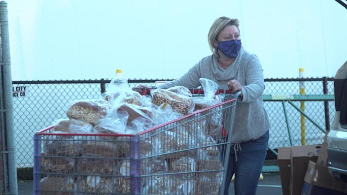 Loaves of bread are delivered to Hopelink, a local food bank, by the carful.  (TODAY)