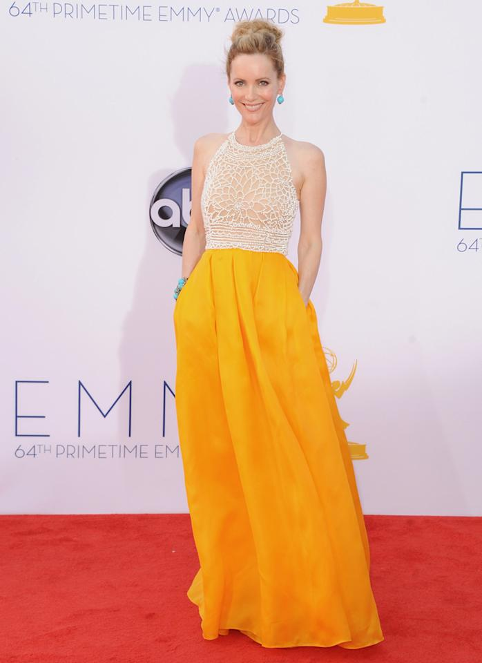 Leslie Mann arrives at the 64th Primetime Emmy Awards at the Nokia Theatre in Los Angeles on September 23, 2012.