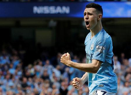 Soccer Football - Premier League - Manchester City v Tottenham Hotspur - Etihad Stadium, Manchester, Britain - April 20, 2019  Manchester City's Phil Foden celebrates scoring their first goal     REUTERS/Phil Noble
