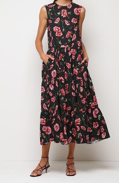 """<h3>Adam Lippes Floral Print Maxi Dress</h3><br>Score! We discovered this sweeping floral gown from Adam Lippes in Nordstrom's treasure-rich sale section. Despite a still-steep price tag, sizes are dwindling, and we can see why — the cotton fabrication makes it an easy, fuss-free option, but the tiered silhouette and romantic floral print make it feel fancy enough for a special occasion. <br><br><em>Shop <strong><a href=""""https://www.nordstrom.com/brands/adam-lippes--13455"""" rel=""""nofollow noopener"""" target=""""_blank"""" data-ylk=""""slk:Adam Lippes"""" class=""""link rapid-noclick-resp"""">Adam Lippes</a></strong></em><br><br><strong>Adam Lippes</strong> Floral Print Cotton Poplin Maxi Dress, $, available at <a href=""""https://go.skimresources.com/?id=30283X879131&url=https%3A%2F%2Fwww.nordstrom.com%2Fs%2Fadam-lippes-floral-print-cotton-poplin-maxi-dress%2F5749023%3F%26color%3Dblack%2520daisy"""" rel=""""nofollow noopener"""" target=""""_blank"""" data-ylk=""""slk:Nordstrom"""" class=""""link rapid-noclick-resp"""">Nordstrom</a>"""