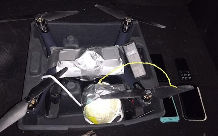 A drone with a bomb taped to it, recovered by Mexican Federal Police in 2017