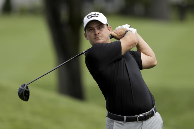 Bud Cauley tees off on the third hole during the first round of the Travelers Championship golf tournament at TPC River Highlands, Thursday, June 25, 2020, in Cromwell, Conn. (AP Photo/Frank Franklin II)