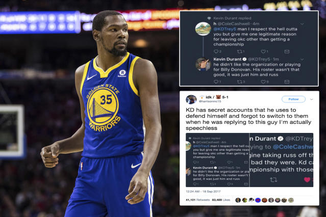 "<p>Warriors superstar Kevin Durant appears to have thin skin when it comes to public criticism of his move to Golden State. After a fan asked him if leaving the Oklahoma City Thunder served any purpose other than winning an NBA championship in Golden State, Durant responded (in the first person) with his verified Twitter account. Another fan quickly spotted Durant's peculiar tweets and asked the question, does Kevin Durant use <a href=""https://ca.sports.yahoo.com/news/kevin-durant-apologizes-twitter-faux-150110745.html"" data-ylk=""slk:secret Twitter accounts;outcm:mb_qualified_link;_E:mb_qualified_link"" class=""link rapid-noclick-resp newsroom-embed-article"">secret Twitter accounts</a> to defend himself on social media? You be the judge. </p>"