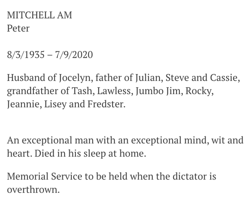 The family of Peter Mitchell made their opinion of Mr Andrews clear. Source: The Age