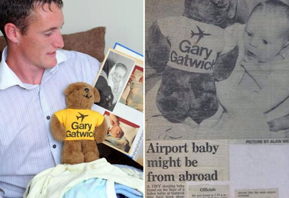 Steve Hydes, who was known as 'Gatwick Gary' after the airport's teddy bear mascot in England's southeast, was abandoned as a baby at the airport in 1986. Source: Facebook/ Gary gatwick airport baby abandoned