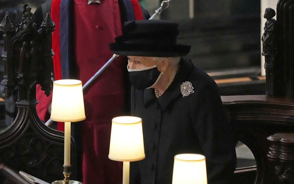 The Queen wearing Queen Mary's diamond and pearl brooch to Prince Philip's funeral - Yui Mok/Pool via AP