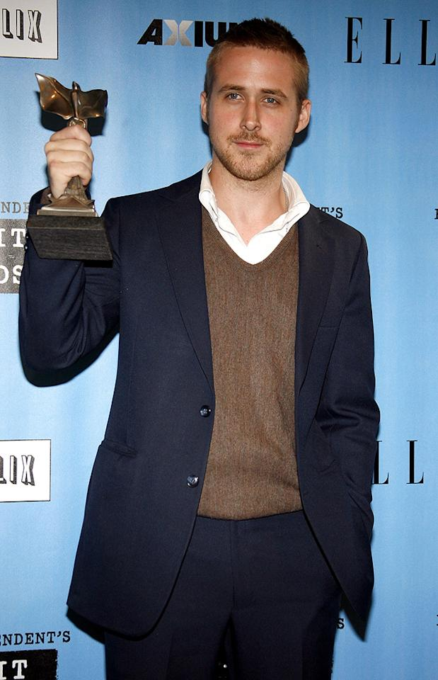 "<a href=""http://movies.yahoo.com/movie/contributor/1804035474"">Ryan Gosling</a> in the press room at the 22nd Annual Film Independent Spirit Awards - 02/24/2007"