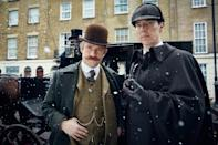 <p>Martin Freeman as Dr. Watson with Cumberbatch on the set of <i>The Abominable Bride.</i></p>